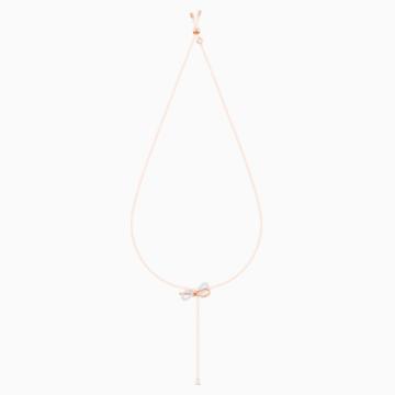 Collar en Y Lifelong Bow, blanco, Combinación de acabados metálicos - Swarovski, 5447082