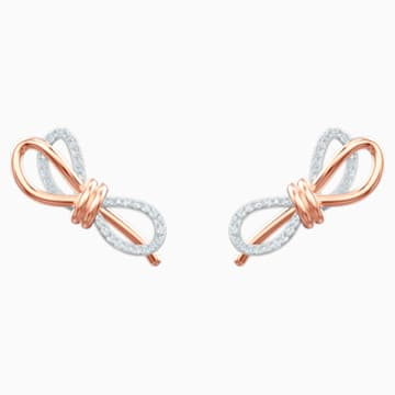 Lifelong Bow Pierced Earrings, White, Mixed metal finish - Swarovski, 5447089