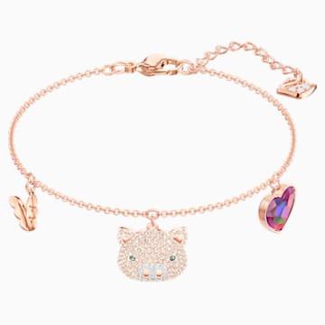 Little Pig 手链, 彩色设计, 镀玫瑰金色调 - Swarovski, 5447482