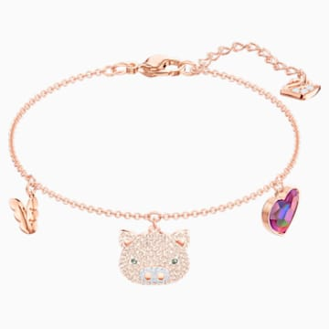 Little Pig Bracelet, Multi-colored, Rose-gold tone plated - Swarovski, 5447482