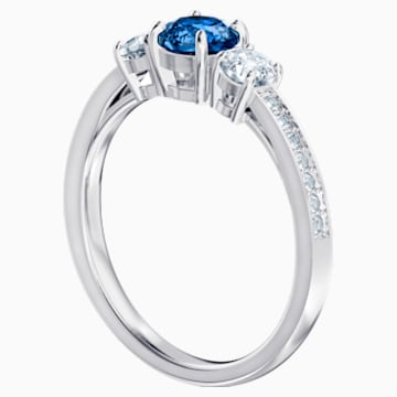 Attract Trilogy Round Ring, Blue, Rhodium plated - Swarovski, 5448831