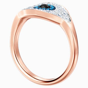 Swarovski Symbolic Evil Eye Ring, Blue, Rose-gold tone plated - Swarovski, 5448837
