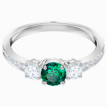 Attract Trilogy Round Ring, Green, Rhodium plated - Swarovski, 5448845