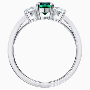 Attract Trilogy Round 戒指, 綠色, 鍍白金色 - Swarovski, 5448845