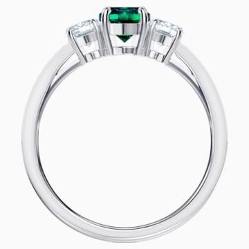 Attract Trilogy Round Ring, Green, Rhodium plated - Swarovski, 5448876