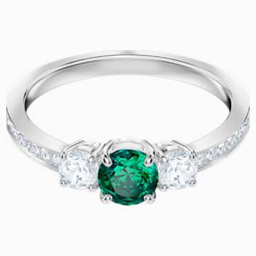 Anillo Attract Trilogy Round, verde, Baño de Rodio - Swarovski, 5448893