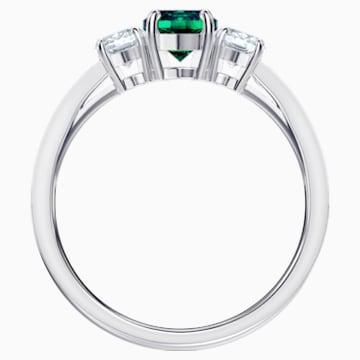 Attract Trilogy Round 戒指, 綠色, 鍍白金色 - Swarovski, 5448893