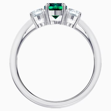 Attract Trilogy Round Ring, Green, Rhodium plated - Swarovski, 5448893
