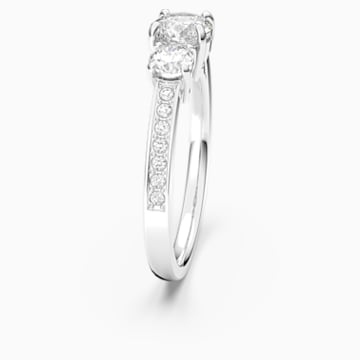 Attract Trilogy Round Ring, White, Rhodium plated - Swarovski, 5448897
