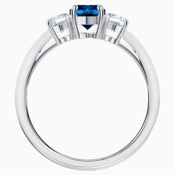Attract Trilogy Round Ring, blau, Rhodiniert - Swarovski, 5448900