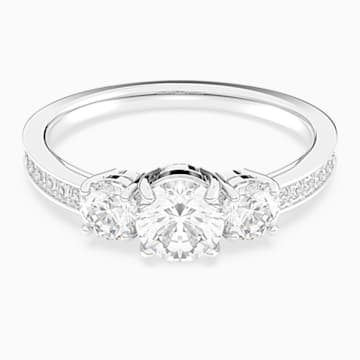 Δαχτυλίδι Attract Trilogy Round, λευκό, επιροδιωμένο - Swarovski, 5448901