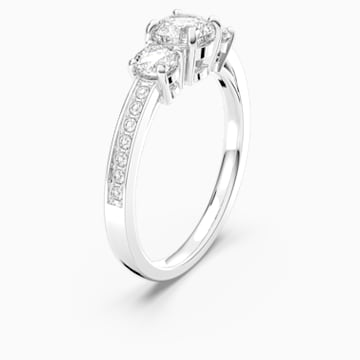 Attract Trilogy Round Ring, White, Rhodium plated - Swarovski, 5448901