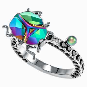 Magnetized Motif Ring, Multi-colored, Black Ruthenium plated - Swarovski, 5448903