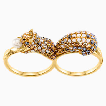 March Squirrel Double Motif Ring, Multi-colored, Gold-tone plated - Swarovski, 5448908