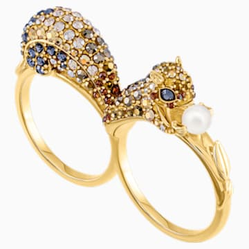 March Squirrel Double Motif Ring, Multi-coloured, Gold-tone plated - Swarovski, 5448908