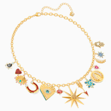 Lucky Goddess Charms Necklace, Multi-coloured, Gold-tone plated - Swarovski, 5451263