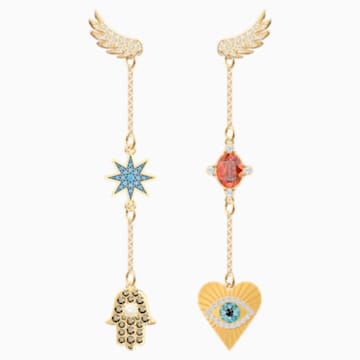 Lucky Goddess 穿孔耳環, 多色設計, 鍍金色色調 - Swarovski, 5451268