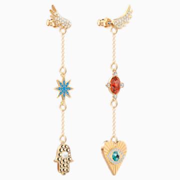 Lucky Goddess 穿孔耳环, 彩色设计, 镀金色调 - Swarovski, 5451268