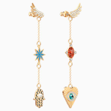 Lucky Goddess Pierced Earrings, Multi-colored, Gold-tone plated - Swarovski, 5451268