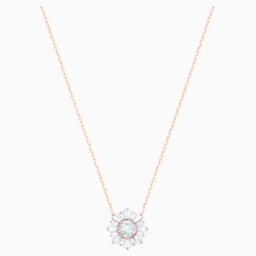 Pandantiv Sunny, alb, placat în nuanță aur roz - Swarovski, 5451376