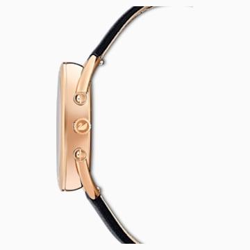 Crystalline Glam Часы, Кожаный ремешок, Черный Кристалл, PVD-покрытие оттенка розового золота - Swarovski, 5452452