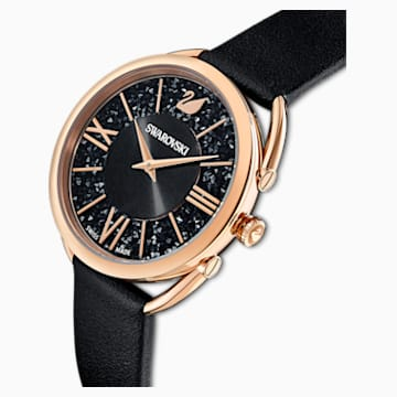 Crystalline Glam-horloge, Leren horlogebandje, Zwart, Roségoudkleurig PVD - Swarovski, 5452452