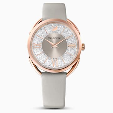 Orologio Crystalline Glam, Cinturino in pelle, grigio, PVD oro rosa - Swarovski, 5452455