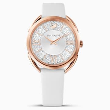 Hodinky Crystaline Glam s koženým páskem, bílé, PVD v odstínu růžového zlata - Swarovski, 5452459