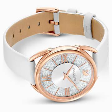 Zegarek Crystalline Glam, pasek ze skóry, biały, powłoka PVD w odcieniu różowego złota - Swarovski, 5452459