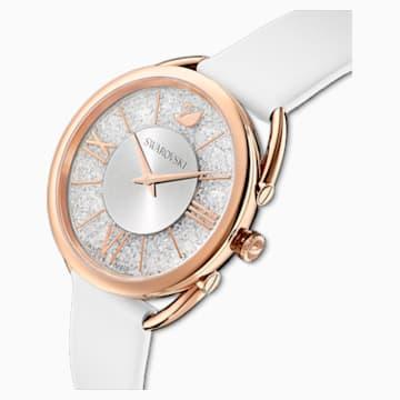 Crystalline Glam Часы, Кожаный ремешок, Белый Кристалл, PVD-покрытие оттенка розового золота - Swarovski, 5452459