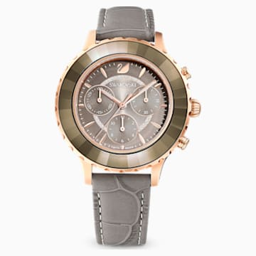 Octea Lux-chronograafhorloge, Leren horlogebandje, Grijs, Roségoudkleurig PVD - Swarovski, 5452495