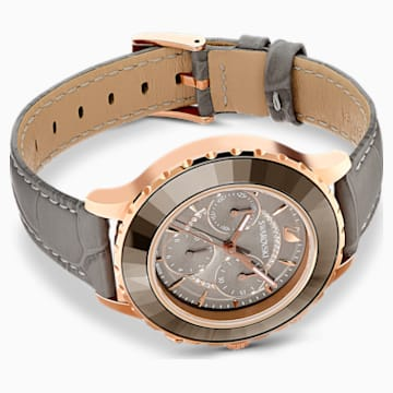 Octea Lux Chrono Watch, Leather strap, Grey, Rose-gold tone PVD - Swarovski, 5452495