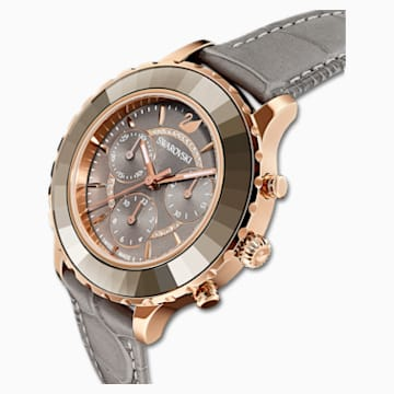 Octea Lux Chrono 腕表, 真皮表带, 灰色, 玫瑰金色调 PVD - Swarovski, 5452495