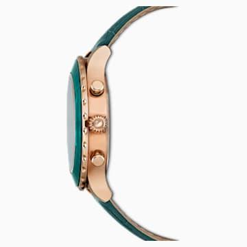 Orologio Octea Lux Chrono, Cinturino in pelle, verde, PVD oro rosa - Swarovski, 5452498