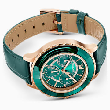 Octea Lux Chrono Часы, Кожаный ремешок, Зеленый Кристалл, PVD-покрытие оттенка розового золота - Swarovski, 5452498