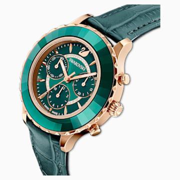 Octea Lux Chrono Uhr, Lederarmband, grün, Rosé vergoldetes PVD-Finish - Swarovski, 5452498