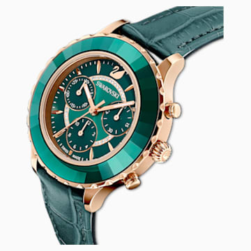 Octea Lux Chrono Watch, Leather Strap, Green, Rose-gold tone PVD - Swarovski, 5452498