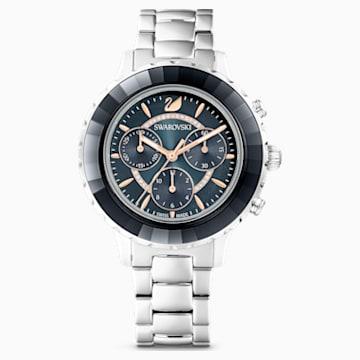 Octea Lux Chrono Watch, Metal bracelet, Grey, Stainless steel - Swarovski, 5452504