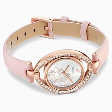 Stella-horloge, Leren horlogebandje, Roze, Roségoudkleurig PVD - Swarovski, 5452507