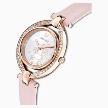 Stella 手錶, 真皮錶帶, 粉紅色, 玫瑰金色調PVD - Swarovski, 5452507