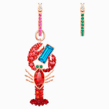 Ocean Lobster Pierced Earrings, Multi-coloured, Rose-gold tone plated - Swarovski, 5452555