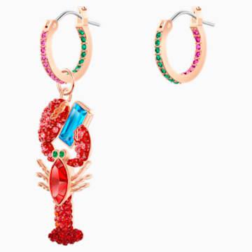 Ocean Lobster Ohrringe, mehrfarbig, Rosé vergoldet - Swarovski, 5452555