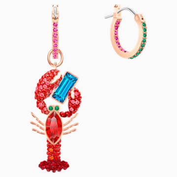 Ocean Lobster İğneli Küpeler, Cok Renkli, Pembe altın rengi kaplama - Swarovski, 5452555