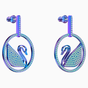 Pop Swan Pierced earrings, Purple, Lilac PVD coating - Swarovski, 5452633
