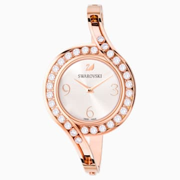 Lovely Crystals Bangle Watch, Metal bracelet, White, Rose-gold tone PVD - Swarovski, 5453648
