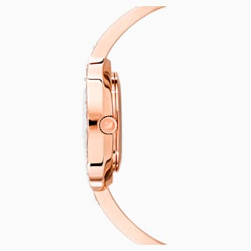 Lovely Crystals Bangle Uhr, Metallarmband, weiss, Rosé vergoldetes PVD-Finish - Swarovski, 5453648