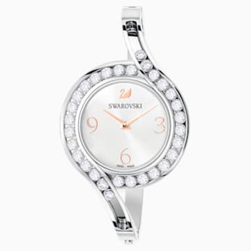 Lovely Crystals Bangle Watch, Metal bracelet, White, Stainless steel - Swarovski, 5453655