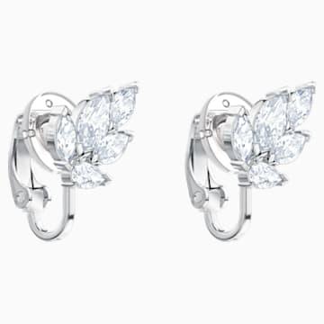 Louison Clip Earrings, White, Rhodium plated - Swarovski, 5454373