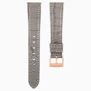 17mm 錶帶, 皮革飾以縫線, 灰褐色, 鍍玫瑰金色調 - Swarovski, 5455156