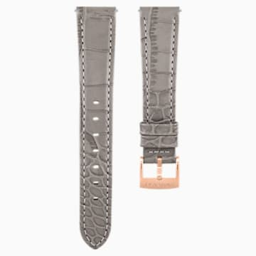 17mm 錶帶, 皮革飾以縫線, 灰褐色, 鍍玫瑰金色調 - Swarovski, 5455157